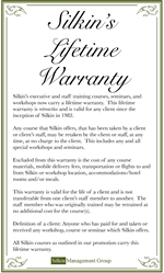 Silkin's Lifetime Warranty